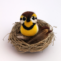 Needle Felted Meadowlark, Bird Ornament