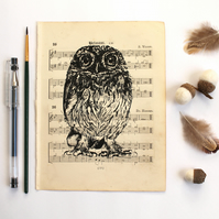 Little Owl Gocco Print on Vintage Sheet Music, Bird Print