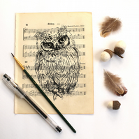 Scops Owl Gocco Print on Vintage Sheet Music, Bristish Bird Print