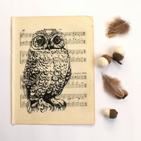 Snowy Owl Gocco Print on Vintage Sheet Music, Hand Printed Bird Print
