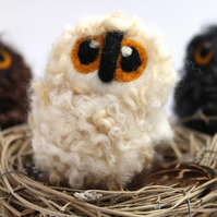 White Needle Felted Owl Baby