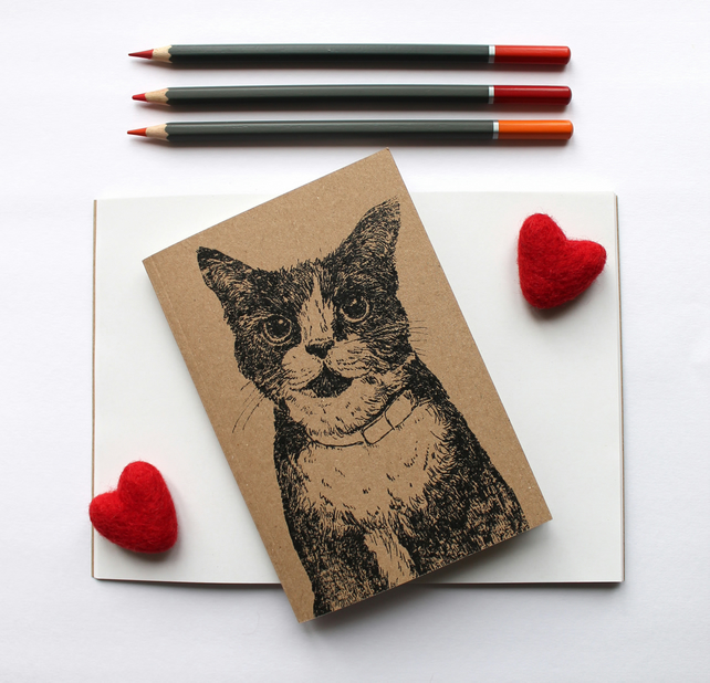 A6 Inky Cat Notebook with Kraft Cover