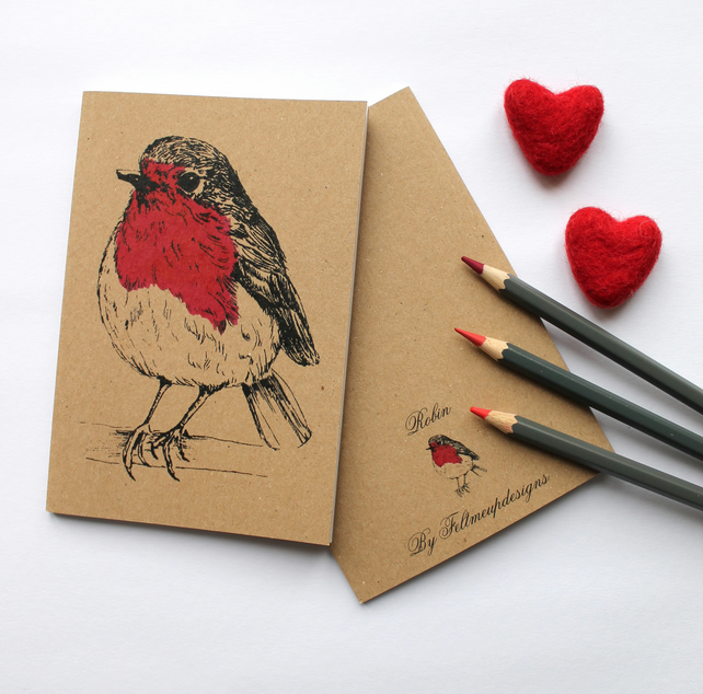 Robin Notebook with Kraft Cover and Plain Paper