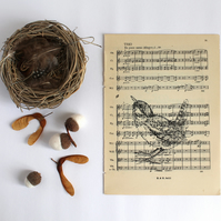 Standing Wren Gocco Print on Vintage Sheet Music