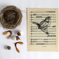 Perching Wren Gocco Print on Vintage Sheet Music, Bird Print, British Bird Art