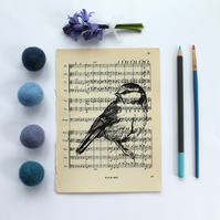 Standing Blue Tit Gocco Print, Bird Print on Vintage Sheet Music
