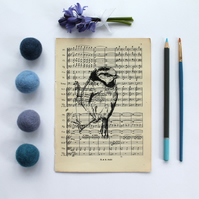Clinging Blue Tit Gocco Print, Bird Print on Vintage Sheet Music