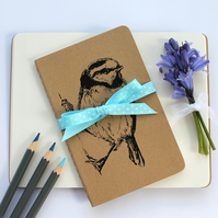 Blue Tit  Notebook, Gocco Printed Note Book