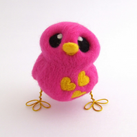 Needle Felted Bird in Pink and Yellow