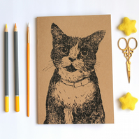 A5 Cat Notebook, Inky Cat Blank Notebook