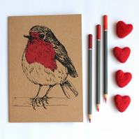 A5 Robin Notebook, Blank Bird Notebook