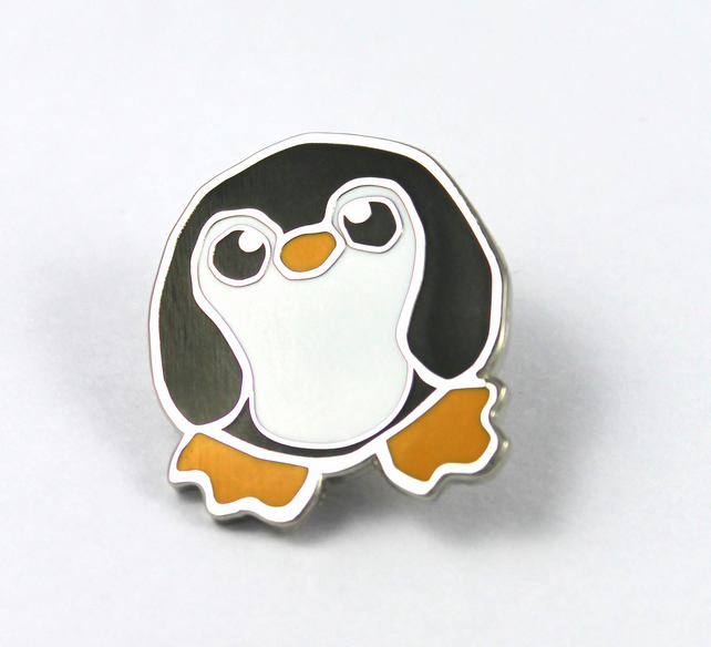 Feltmeupdesigns Penguin Pin Badge Enamel Brooch