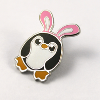 Pengbunny Penguin Pin Badge Enamel Brooch Penguin with Bunny Ears