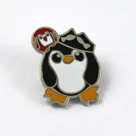 Pirate Penguin Pin Badge Enamel Brooch Penguin in Pirate costume