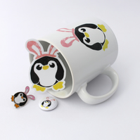 Pengbunny Penguin Ceramic Mug, Pin Badge and Sticker Gift set