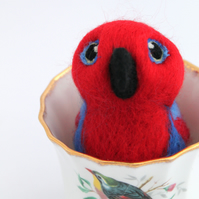 Needle Felted Red Parrot Red Eclectus Bird