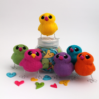 Needle Felted Easter Chick In Bright Colours