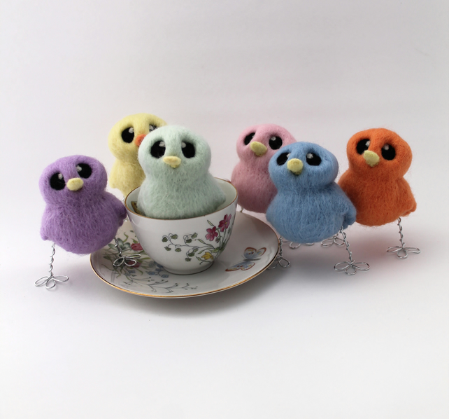 Needle Felted Pastel Mini Bird Choose Your Colour