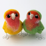 Needle Felted Peach Faced Lovebird