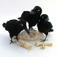 Needle Felted Crow Ornament Bird Decoration