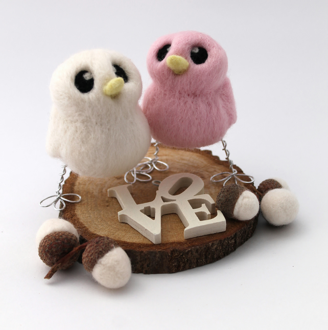 Needle Felted Mini Pastel Bird Wedding Cake Topper