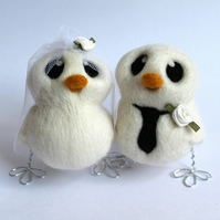 Customisable Love Birds Wedding Cake Topper Bride and Groom Needle Felted Birds