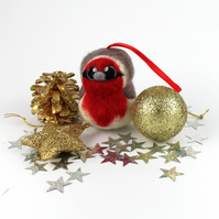 Needle Felted Robin Bird Christmas Tree Decoration