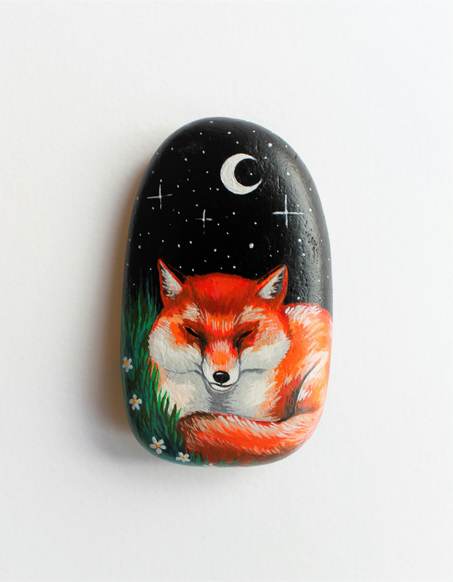 Sleeping fox painted stone
