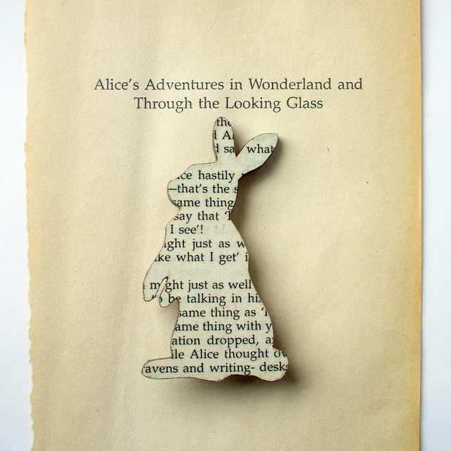 Alice in Wonderland - Rabbit brooch. Made with original pages from classic book