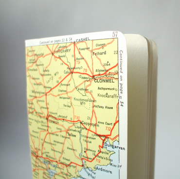Notebook bound in vintage map - Handmade book