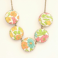 Liberty of London Five Button Necklace in Poppy and Daisy Brights