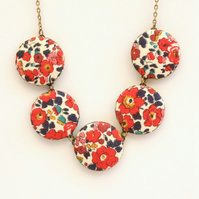 Liberty of London Five Button Necklace in Betsy Ann Red