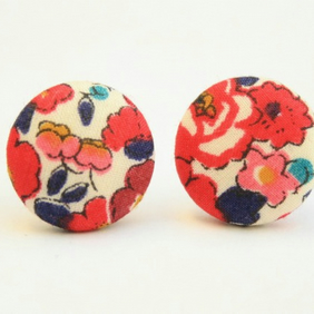 Liberty Fabric 'Betsy Ann Red' Stud Earrings