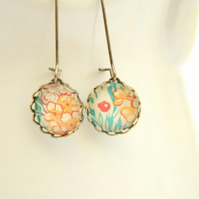 Dainty Glass Drop Earrings in Peach and Turquoise