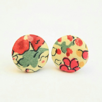 Liberty Fabric 'Claire Aude Red' Stud Earrings