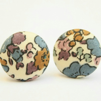 Liberty Fabric 'Betsy Ann Grey' Stud Earrings