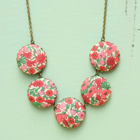 Liberty of London Five Button Necklace in Petal and Bud Pink