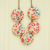 Liberty of London Five Button Necklace in Phoebe Red and Blue