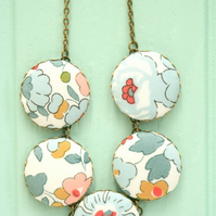 Liberty of London Five Button Necklace in Betsy Pastel Grey
