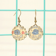 William Morris Style Blue Rose Glass Cabochon Earrings