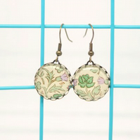 William Morris Style Green Rose Glass Cabochon Earrings