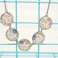William Morris Style Blue Rose Italian Paper Five Button Glass Cabochon Necklace