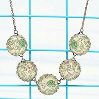 William Morris Green Rose Italian Paper Five Button Glass Cabochon Necklace