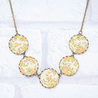 Peach and Yellow Italian Paper Five Button Glass Cabochon Necklace