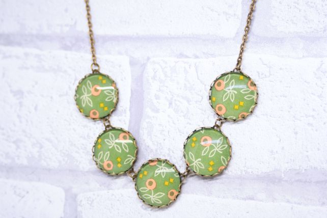 Green and Mustard Italian Paper Five Button Glass Cabochon Necklace