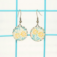 Turquoise and Yellow Daisy Glass Cabochon Earrings