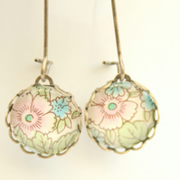 Dainty Glass Drop Earrings in Pastel Pink and Blue