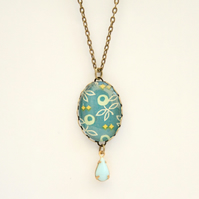 Turquoise Flower Glass Oval Cabochon Necklace with Glass Charm
