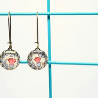 Dainty Glass Drop Earrings in William Morris Style Design