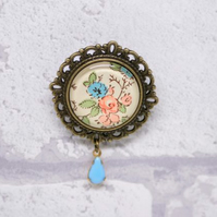 Coral and Blue Pretty Glass Brooch with Milk Glass Drop